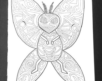Moth Man Adult Coloring Page, 8x10 Printable