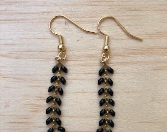 Black spike chain earrings