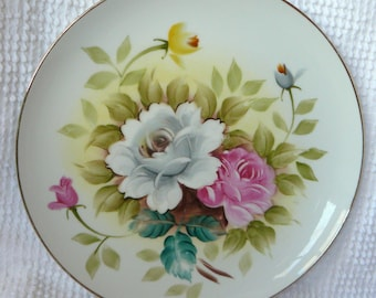 Vintage Decorative Plate with Roses - Handpainted Kashmir Rose 10 Inch Plate - Gold Trim - Cottage Decor, Mother's Day gift