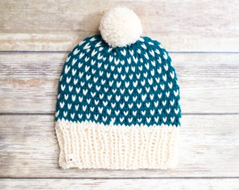 READY TO SHIP - Knitted Fair Isle Hat, Chunky Wool Knit Hat, Women's Pom Pom Hat, Winter Hat, Fall Fashion, Winter Accessories, Gift for Her