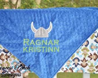 Personalized Baby Blanket, Minky Blanket, Personalized Name Blanket,Viking Applique Blanket,Viking Blanket, Choose colors, Choose your size.