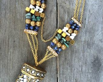 Handmade Tibetan Necklace, Boho, Horn, Tusk, Tribal, Festival, Sexy, Beaded, Chain, Unique (Tibetan Tribe Necklace)