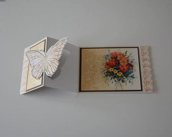 Bouquet of Roses in 3D Butterfly card
