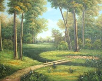 Forest river landscape oil painting