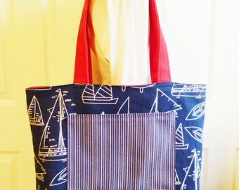 Nautical Tote, Reversible Tote Bag, Sailing, Boats