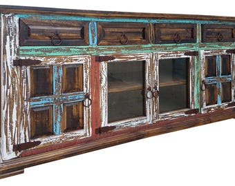 72 inch Hi End Rustic TV Stand 4 Doors 4 Drawers Western Solid Wood Multicolor Distressed Rough Cut Finish Ships Already Assembled