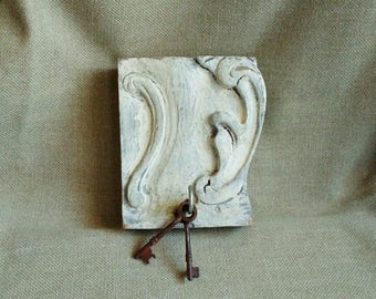 Hand Painted Ornate Weathered Hanger, Towel Rack, Jewelry Holder, Key Rack