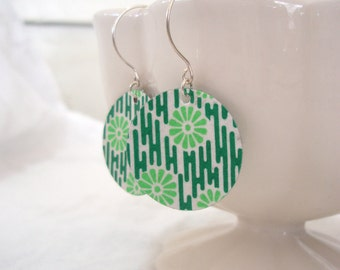 Green Floral Stripe Origami Small Earrings