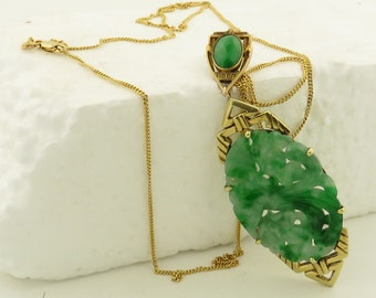 "Antique Art Deco 14 kt Gold Hand Carved & Pierced Jade Pendant w/ Phoenix Design on 22"" Chain."