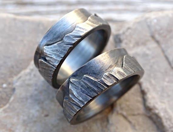 mountain range ring set outdoor wedding ring black silver