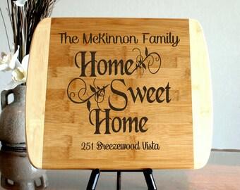 Custom Cutting board Home sweet home Personalized New Home Gift Housewarming Gift Chopping Block Closing Gift