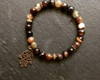 Brown agate hand of Fatima bracelet