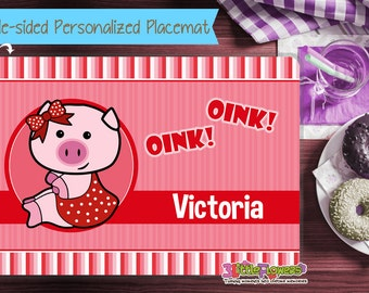 Girl Pig Placemat - Personalized placemat for kids - Laminated Custom Double-sided placemat - Activity Placemat for Girl - Children Placemat