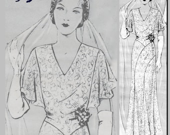 "Wedding Dress (36"" Bust) - Vintage Reproduction PDF Pattern - 1930's -  made from original 1932 Pattern (similar to La Mode Illustree)"