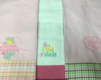 Three Embroidered Pink Baby Burp Cloths