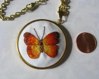 Needle Painting Orange Butterfly Pendant. Hand Stitched Pendant. Pendant Necklace.-033