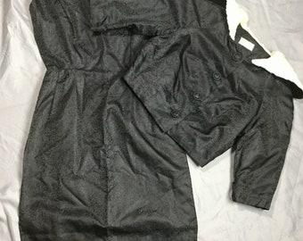 Vintage black 40's 50's 2pc Jacquard faux fur dress set size S/M