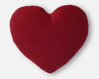 Valentine's Gift - Deep Red Velvet Heart Shaped Decorative Pillow - Small Size