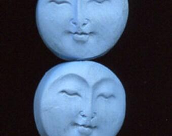 6 Medium  Blue Faux Bone Polymer  Moon Beads Top Drilled MBLM 1