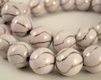 10 ceramics pearls 14 mm : light pink