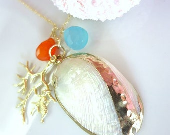 Gold Shell Coral Blue Chalcedony Seahorse Coral Gold Filled Necklace, Blue Orange Shell Beach Necklace, Moana Beach Shell Necklace