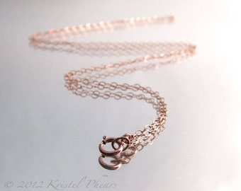 "Dainty 14k Rose Gold-Filled chain - sparkly flat oval link 16"" 18"" 20"" 24"""