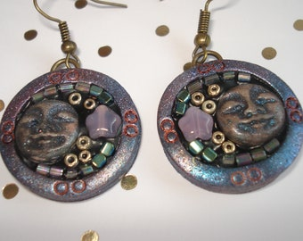 """Cabinet of curiosities"" Ode to the Moon, polymer clay earrings, Bohemian spirit, folk"