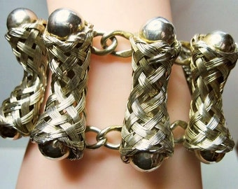 Chunky Wide Vintage Bracelet - Lattice Like - Braided Wire - Woven Wire - 1950s to 1960s - Statement Bracelet