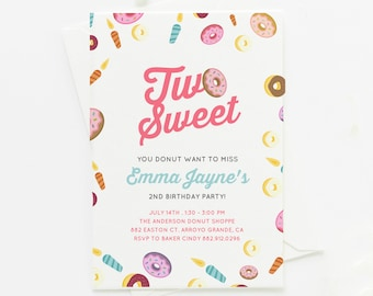 Two Sweet Donut Birthday Party Invitation . Girl's Donut Birthday Party . Donut . Birthday . Donut Party . 4x6 or 5x7
