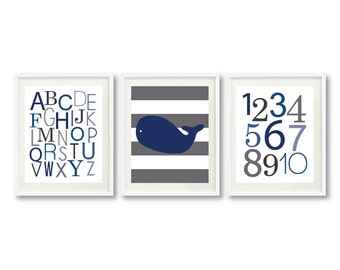 Whale Art Print-Set of Three 5x7 or 8x10-Alphabet-Numbers-Polka Dots-Chevron-Stripes-Nursery-Kids Room-Navy Blue-White-Grey OR Choose Color