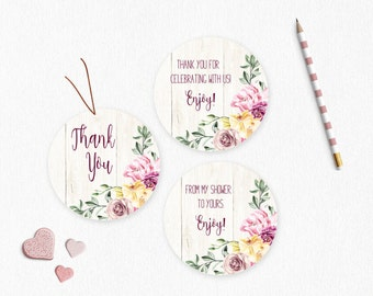 Baby Shower Thank You/Favor Tags - Vintage Flower Garden - Printable