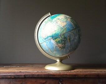 Mid Century Globe, Vintage Rand McNally Globe, World Map, Retro Office