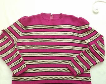 Vintage Women's Sweater 1980s Fuschia Black Sequin Retro Stripe
