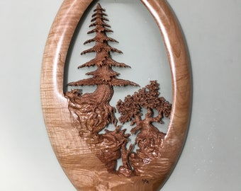 Tree wood carving wall sculpture 5th anniversary gift present