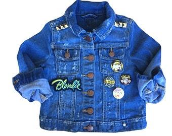 Jean jacket. Toddler jean jacket. Kids jean jacket. Patched jacket. Studded jacket. Girls jean jacket. Blondie. Denim jacket.  Toddler.