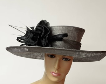 Black Sinamay hat with Grey flowers,mid-brim hat,high quality,light and comfortable,Kentucky Derby,English Royal hat,Formal Dress hat