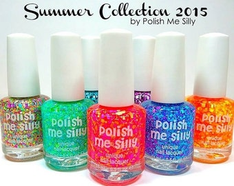 Full Set of 10 Summer Collection Polishes :  Custom-Blended Indie Glitter Nail Polish / Lacquer Christmas