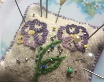 Antique Pin Cushion, Hand Made, Embroidered Pansies, 3 Hat Pins, 1 Dress Pin with Sewing Pins