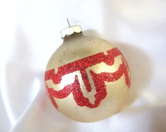 Vintage Shiny Brite Christmas Ornament - Matte Silver with Bold Red Glitter Christmas Ornament