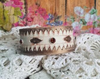 Classic Rhinestone Leather Cuff Bracelet> Ivory & Bronze/ Boho Gypsy Chic/ Cowgirl Jewelry/ Southwestern Jewelry/ Wristband/ Bangle Bracelet
