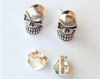 Sterling Silver Halloween Earrings, Skull Head Stud Earrings, Halloween Jewelry.
