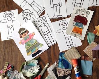 Paper dolls, Fabric paper dolls, travel toy, Eco friendly gift, rainy day craft, fashion designer
