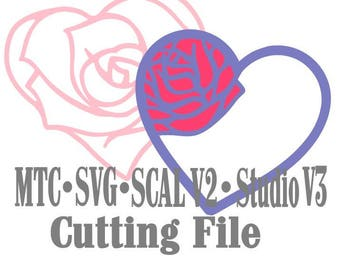 SVG Cut File Rose Heart and Heart with Rose Valentine Wedding Anniversary Love Cut Files MTC SvG SCAL