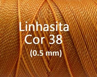 Linhasita Mandarine Orange (0.5 mm) Cor 38, Waxed Polyester Macrame Cord/ Beading/ Spool