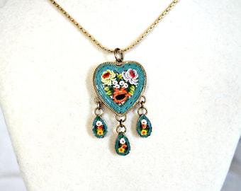Vintage Micro Mosaic Heart Pendant Necklace with Dangles, Art Deco Necklace