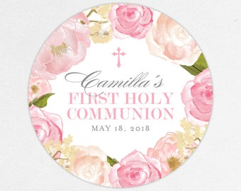 First Communion Favor Labels, First Communion Stickers, Printed Communion Tag, First Holy Communion Favor Tag, Girl Communion, Pink, Camilla