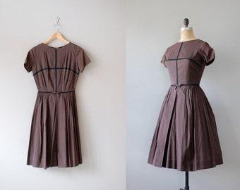 1950s dress / 50s cotton / Brownie Squares dress