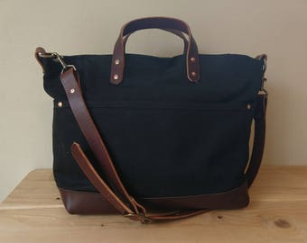 Hale Passage Bag - Large Waxed Canvas Bag with Leather Bottom, Grab Handles, Adjustable Shoulder Strap with 1000D Cordura Lining