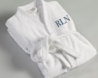 Personalized Men's Bath Robe - White Terry Cloth Embroidered Robe - Monogrammed Robe for Him - Gifts for Him - Groomsmen Gifts -  RO017