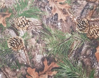 Mixed Pine Pinecones Camo Leaves Landscape Fabric High Quality Cotton BY THE YARD